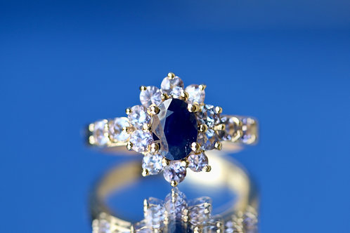 SAPPHIRE AND TANZANITE COCKTAIL RING