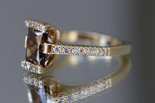 RECTANGULAR CUT CHAMPAGNE DIAMOND RING