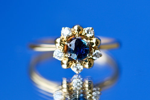 VINTAGE SAPPHIRE AND DIAMOND FLORAL COCKTAIL RING