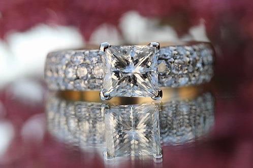 EURO STYLE PRINESS CUT PAVE DIAMOND ENGAGEMENT RING