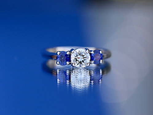 PAST, PRESENT AND FUTURE DIAMOND AND SAPPHIRE ENGAGEMENT RING