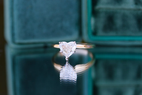 HEART SHAPED SOLITAIRE DIAMOND ENGAGEMENT RING