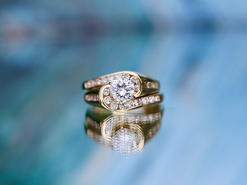 ROUND DIAMOND BYPASS BAND WEDDING SER