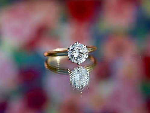 YELLOW GOLD ROUND SOLITAIRE DIAMOND ENGAGEMENT RING