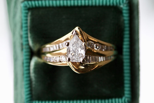 EMPRESS CUT DIAMOND ENGAGEMENT RING WITH ACCENTS