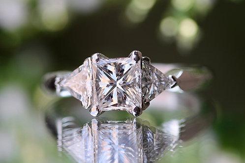 PRINCESS AND TRILLION CUT DIAMOND ENGAGEMENT RING