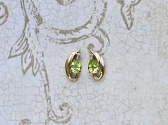 peridot, yellow gold, earrings, virginia beach jewelry store, hilltop pawn