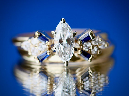 MARQUISE & ROUND DIAMOND WEDDING SET WITH SAPPHIRE