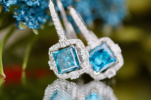 COLOR ENHANCED BLUE DIAMOND EARRINGS