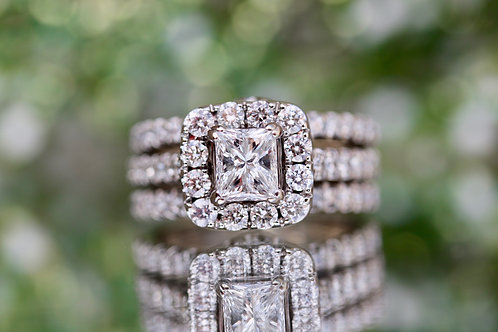 NEIL LANE PRINCESS CUT WEDDING SET WITH ROUND DIAMOND ACCENTS