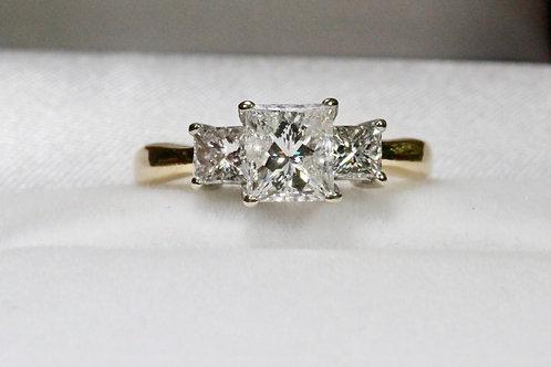 PAST, PRESENT AND FUTURE PRINCESS CUT DIAMOND ENGAGEMENT RING