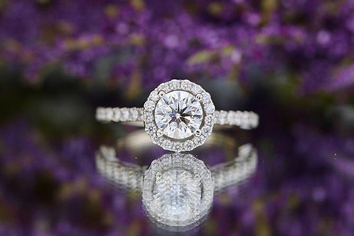 FILIGREE ROUND DIAMOND HALO ENGAGEMENT RING