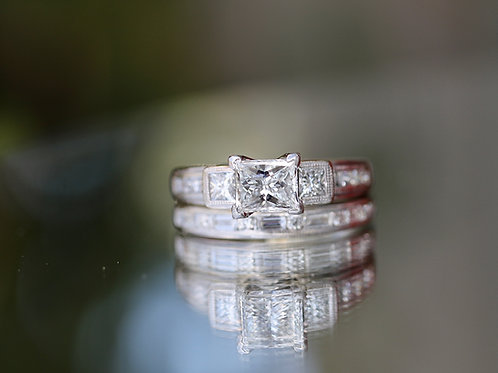 PRINCESS CUT DIAMOND WEDDING SET WITH ACCENTS