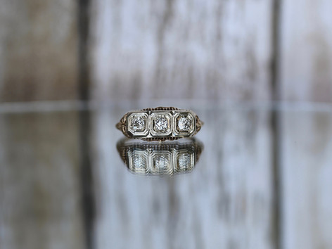 antique jewelry, three stone ring, fashion ring, virginia beach jewelry store, hilltop pawn shop