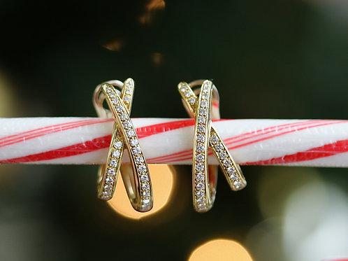 ROUND DIAMOND BYPASS HOOP EARRINGS