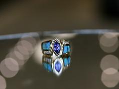 tanzanite ring, bezel set, opal inaly, virginia beach jewelry store, hilltop pawn