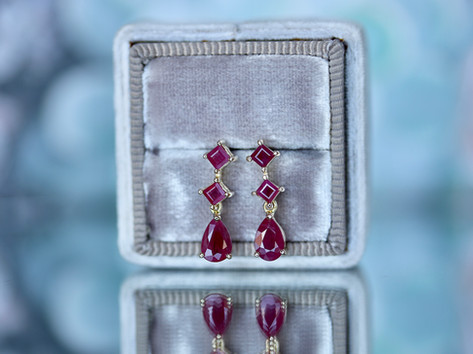rubies, yellow gold, studs, earrings, virginia beach jewelry store, hilltop pawn