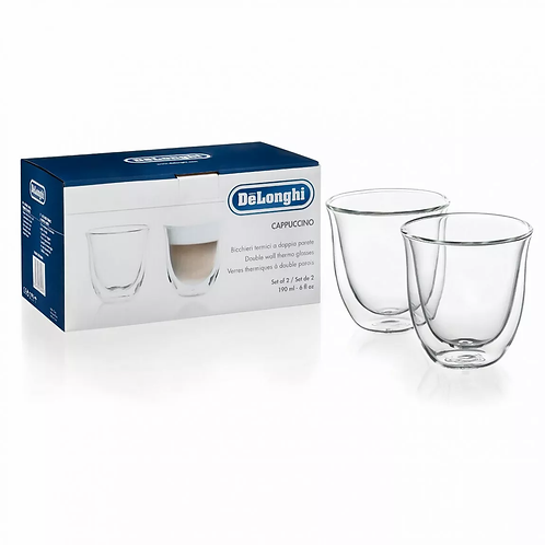 De'Longhi 6 oz Double Wall Cappuccino Glasses, 2-Piece Set