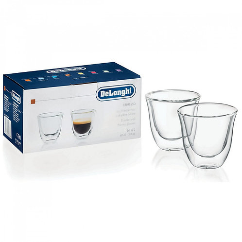 De'Longhi 2 Oz Double Wall Espresso Glasses, 2-Piece Set