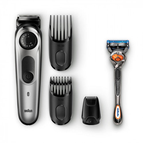 Braun Rechargeable Beard & Hair Trimmer with Precision Dial, 7-Pieces