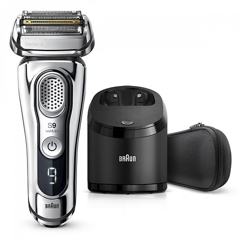 Braun SERIES 9 Silver Rechargeable Shaver with Clean & Charge Station & Case The