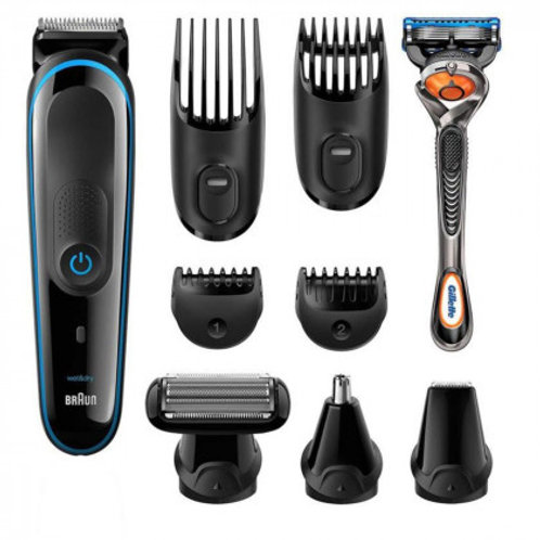 Braun 9-in-1 Rechargeable Multi Grooming Kit, Beard, Hair & Body, 12-Pieces