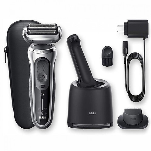 Braun SERIES 7 Grey Rechergeable Shaver with 360 Flex Head &Clean & Charge