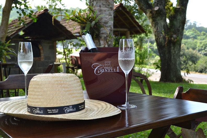 Espumant no jardim da vinícola Cainelli no vale do Rio das Antas