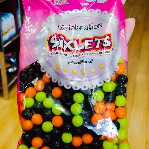 Sweetworks Sixlets Orange, Black & Lime Green Mix 14 oz.