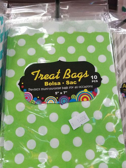 "5""x7"" Lime Green Polka Dot Paper Bags 10 ct."