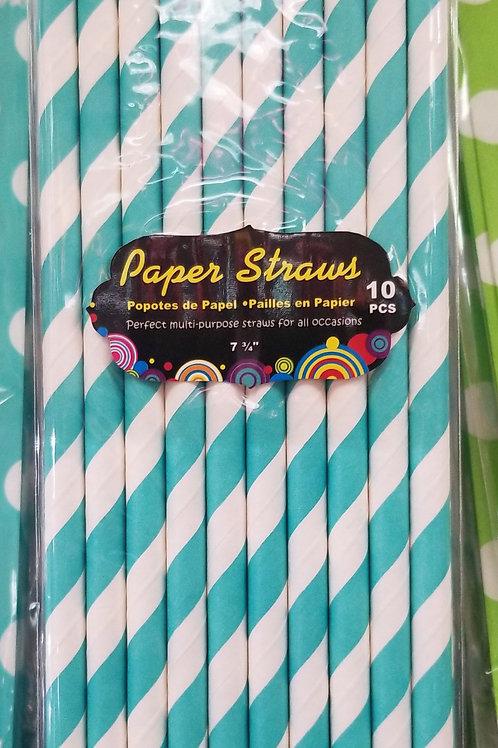"""7.75"""" Aqua & White Spiral Paper Straws 10 ct."""