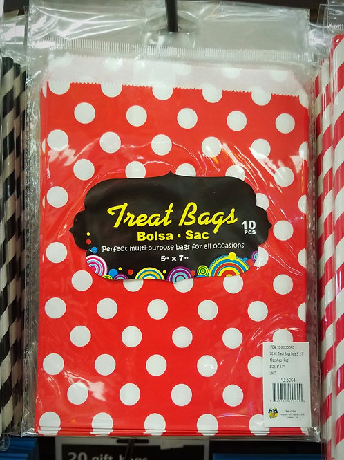 "5""x7"" Red Polka Dot Candy Bags - 10 ct."