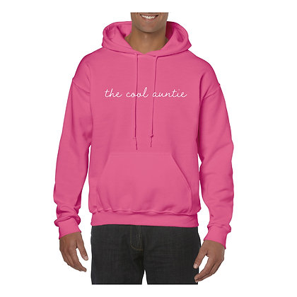 Pink hoodie with text The Cool Auntie vinyl printed to the front in white