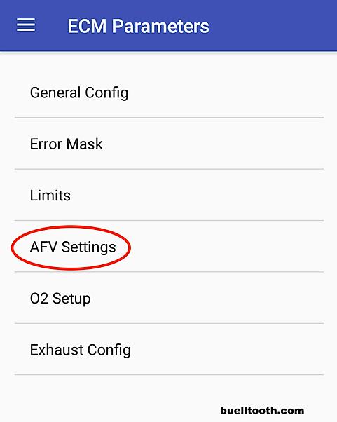 AFV settings in ECM parameters