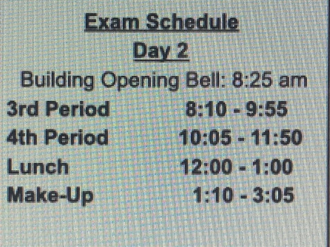 CHS Exam Days and Schedule