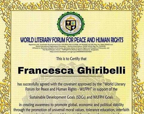 Francesca Ghiribelli: ambasciatrice per la pace e i diritti umani per la poesia e la letteratura
