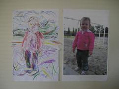 Zoe scribble portrait and source photo
