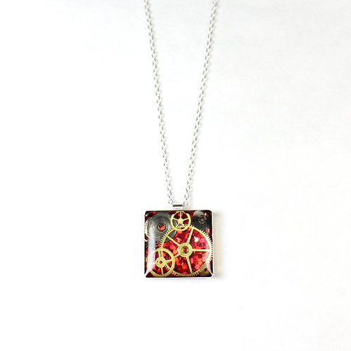 Steampunk Small Silver Square Necklace