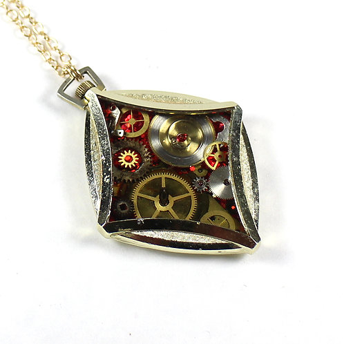 Steampunk Antique Pocket Watch Necklace - Star