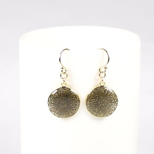 Gold Daisy Flower Earrings