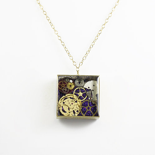 Steampunk Gold Square Rapper Necklace