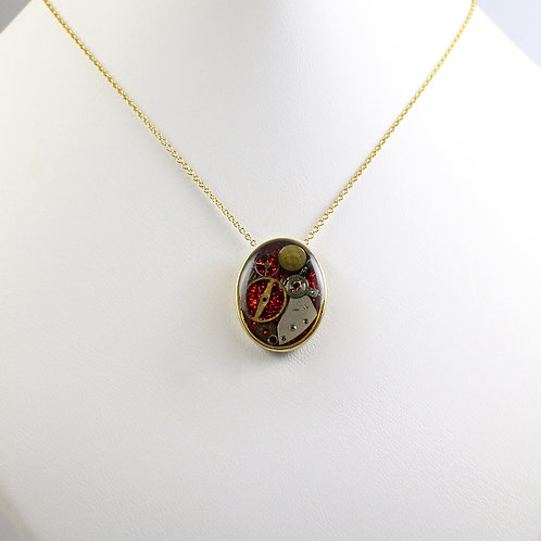 Gold Oval Frozen Time Necklace