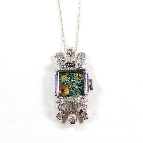 Steampunk Vintage Wrist Watch Case Necklace - Silver Tone