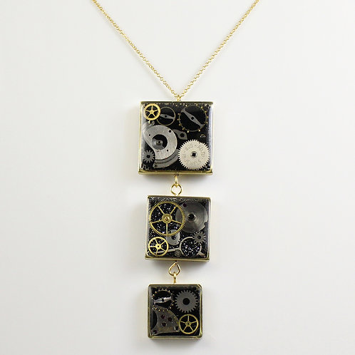 Steampunk Gold Three Square Tiered Necklace