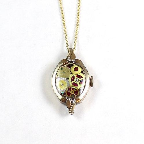 Frozen Time Vintage Watch Case Necklace - Gold