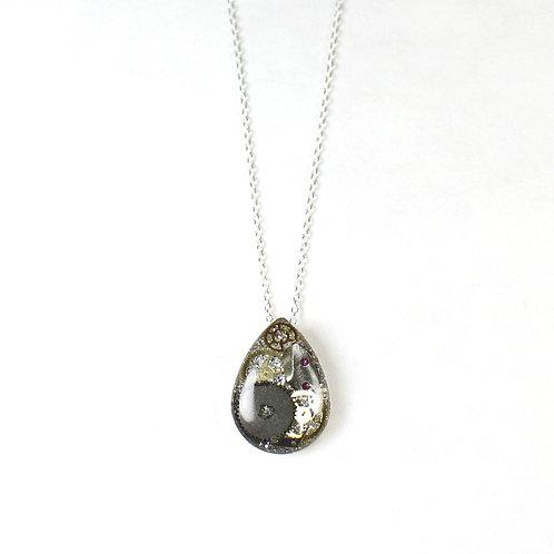 Steampunk Small Silver Tear Drop Necklace
