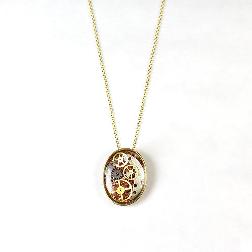 Steampunk Small Gold Oval Necklace