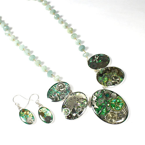 Steampunk Chalcedony Gemstone Necklace Set