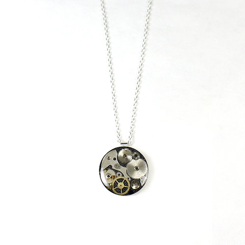 Silver Round Frozen Time Necklace - Large