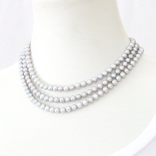 Triple Strand Freshwater Pearl Necklace - Silver